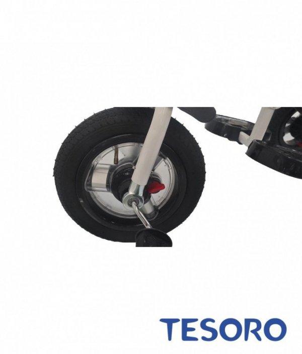 Rowerek trójkołowy  pompowane koła/wolne koło BT-10 Czarna rama - różowy