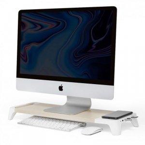 POUT Eyes8 – Drewniana podstawka pod monitor z szybką ładowarką oraz bezprzewodowym ładowaniem urządzeń, 3-w-1, kolor biały