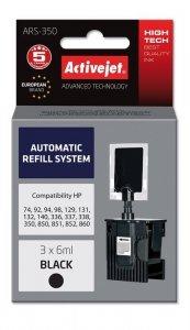 System uzupełnień Activejet ARS-350 (zamiennik HP336, HP337, HP338, HP350; 3 x 6 ml; czarny)