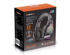 Słuchawki gamingowe REAL-EL GDX-7780 SURROUND 7.1 (black, RGB, z wbudowanym mikrofonem)