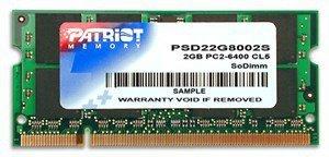 Pamięć Patriot Memory Signature PSD22G8002S (DDR2 SO-DIMM; 1 x 2 GB; 800 MHz; CL6)