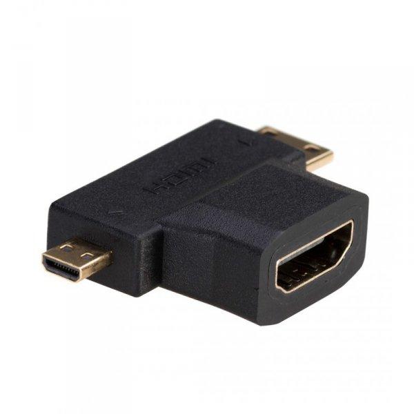 Adapter Akyga AK-AD-23 (HDMI F - Micro HDMI, Mini HDMI M; kolor czarny)