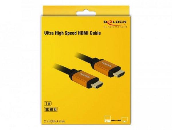 DeLOCK 85727 kabel HDMI 1 m HDMI Typu A (Standard) Czarny, Złoto