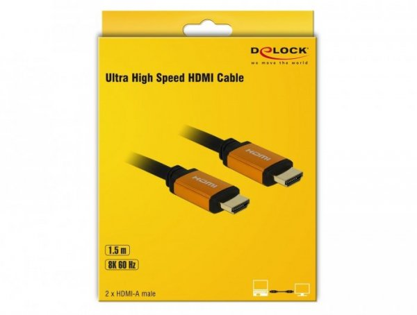 DeLOCK 85728 kabel HDMI 1,5 m HDMI Typu A (Standard) Czarny, Złoto