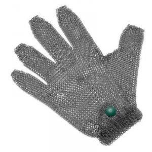 Rękawice metalowe, z zielonym zaciskiem