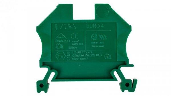 Złączka szynowa 2-przewodowa 4mm2 zielona EURO 43409GR