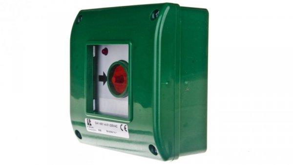 Przycisk awaryjny natynkowy 0Z 1R zielony OA1-W01-A-01-230VAC