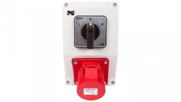 Zestaw instalacyjny z gniazdem 16A 4P RS-Z (L-0-P) czerwony 6277-20