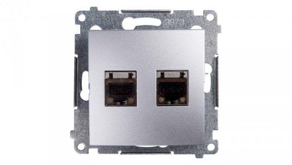 Simon 54 Gniazdo komputerowe podwójne 2xRJ45 kat.6 ekranowane z przesłoną srebrny mat D62E.01/43