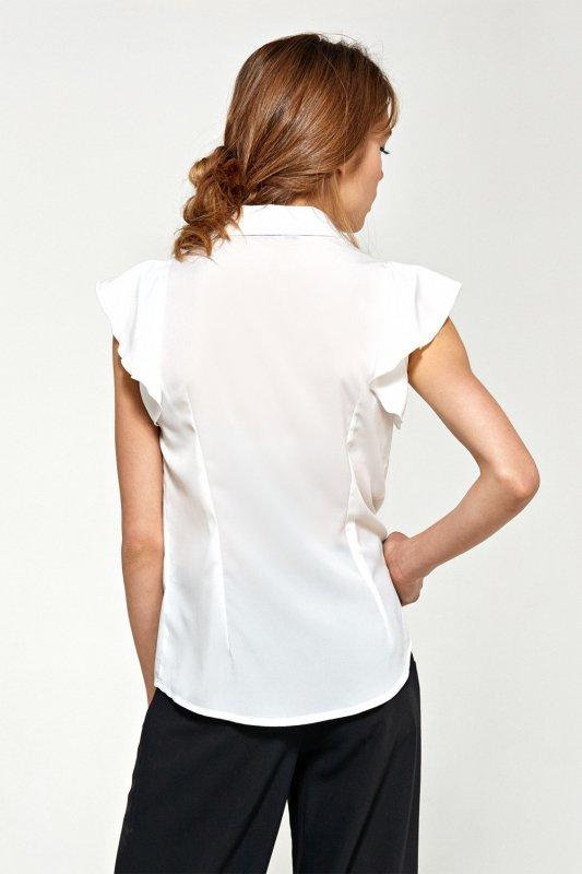 Bluzka z krótkim rękawem i falbanami B88 Ecru - Nife