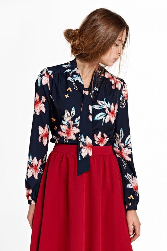 Bluzka z fontaziem i długim rękawem B94 Navy/Flowers - Nife