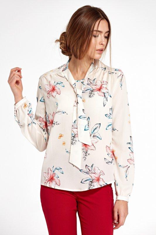 Bluzka z fontaziem i długim rękawem B94 Ecru/Flowers - Nife