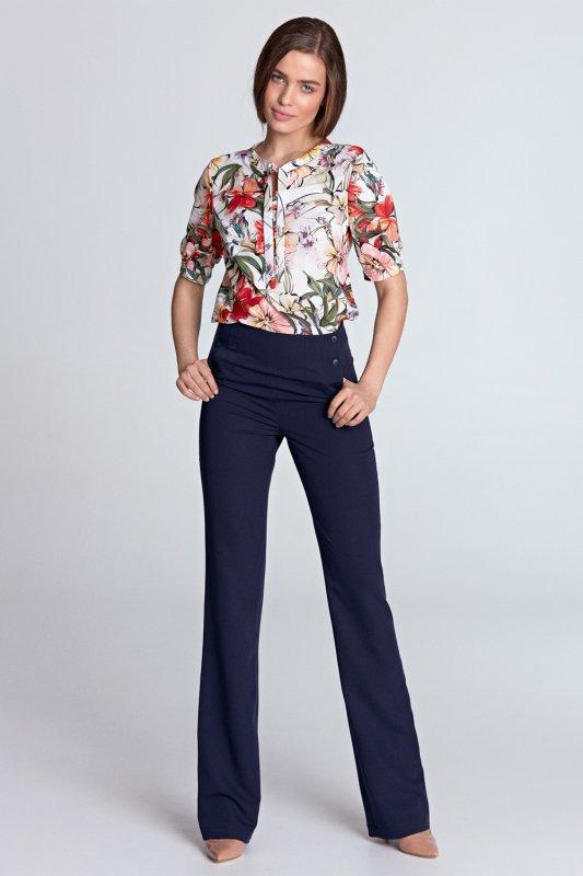 Bluzka z wiązaniem Model B101 Flowers/Ecru - Nife