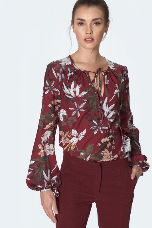 Bordowa bluzka z wiązaniem na dekolcie w kwiaty B127 Flowers/Bordo - Nife