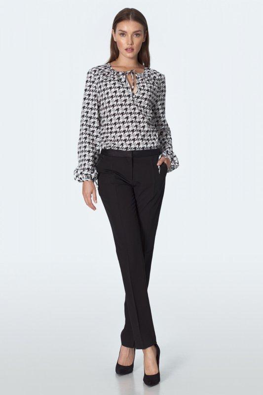 Czarne spodnie z satynowym paskiem SD54 Black - Nife