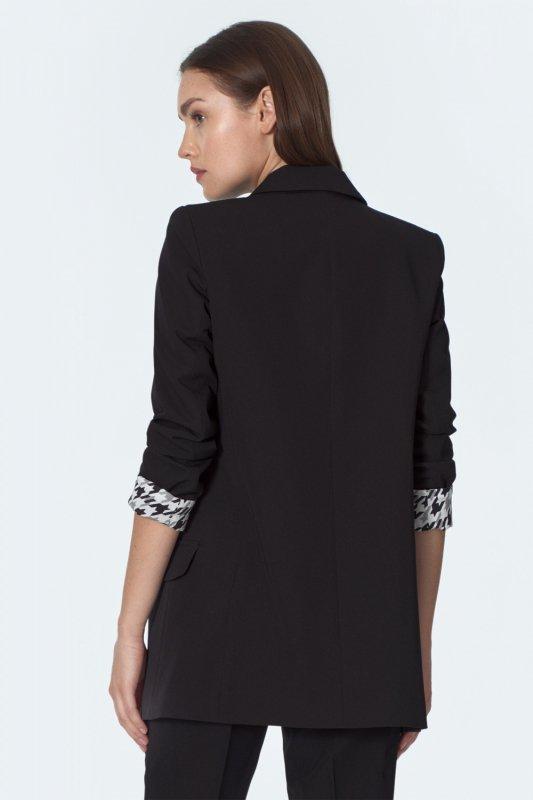 Czarny żakiet z rękawem we wzór pepito Z37 Black - Nife