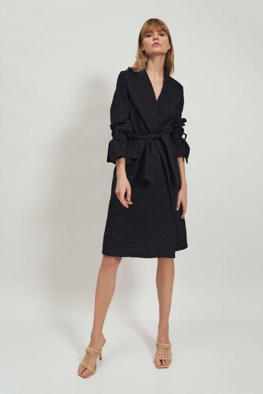 Koronkowy czarny płaszcz PL14 Black - Nife