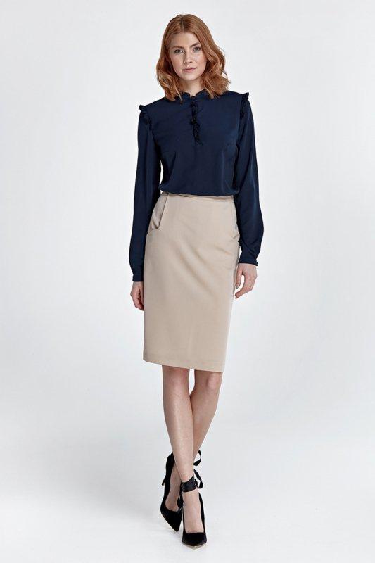 Spódnica Zwężana spódnica z kieszeniami SP33 Beige - Nife