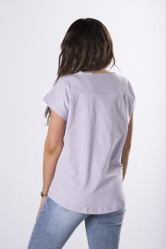 bawełniany t-shirt z dekoltem V