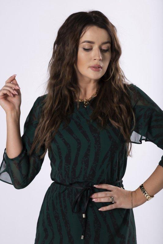 szyfonowa sukienka z wiązaniem w pasie