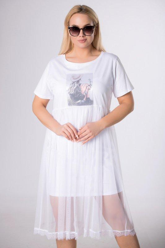 dopasowana sukienka z tiulową spódnicą