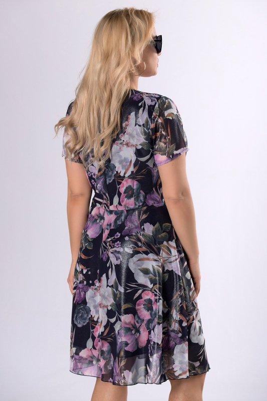 szyfonowa sukienka z brokatowym wykończeniem