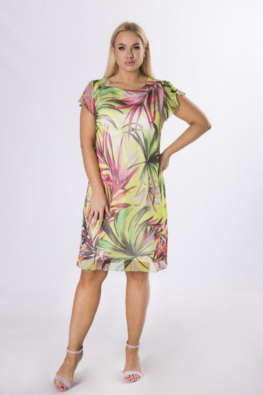 szyfonowa sukienka w liście