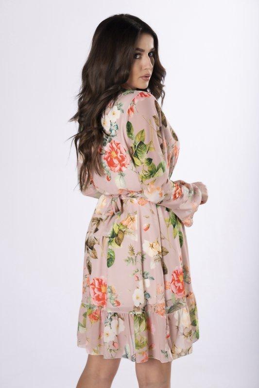 szyfonowa sukienka z paskiem