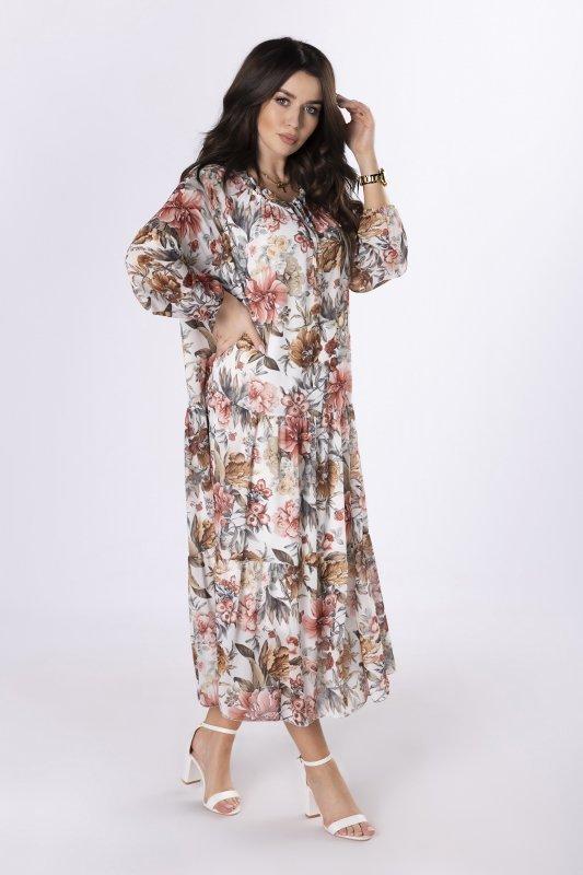 szyfonowa sukienka maxi z wiązaniem na biuście