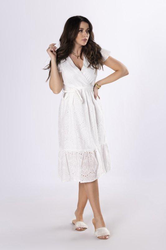 ażurowa sukienka z wiązaniem