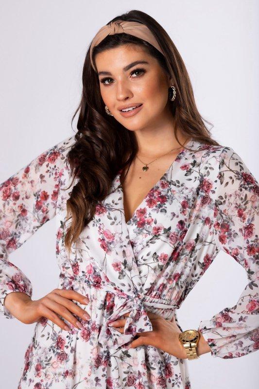 kopertowa sukienka midi w kwiaty