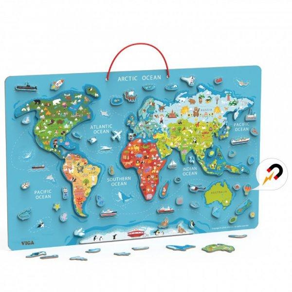 Tablica Edukacyjna z Magnetyczną Mapą Świata - VIGA Toys