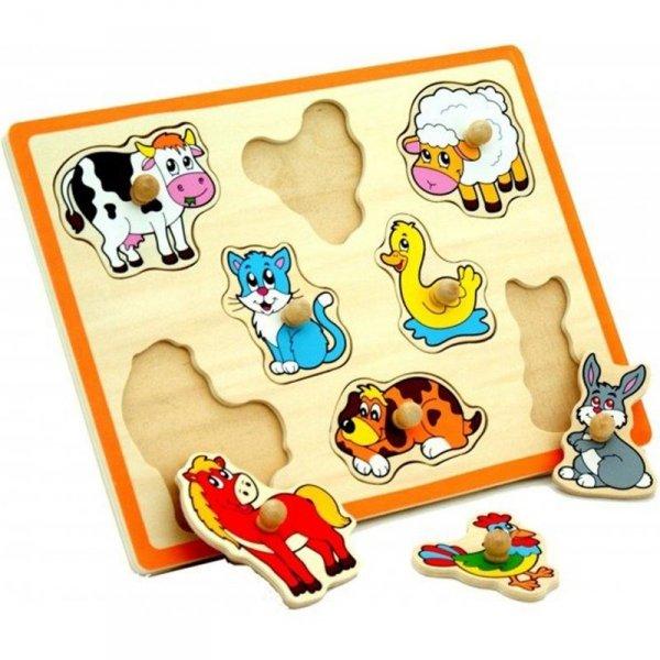 Drewniane Puzzle Farma Układanka - Viga Toys