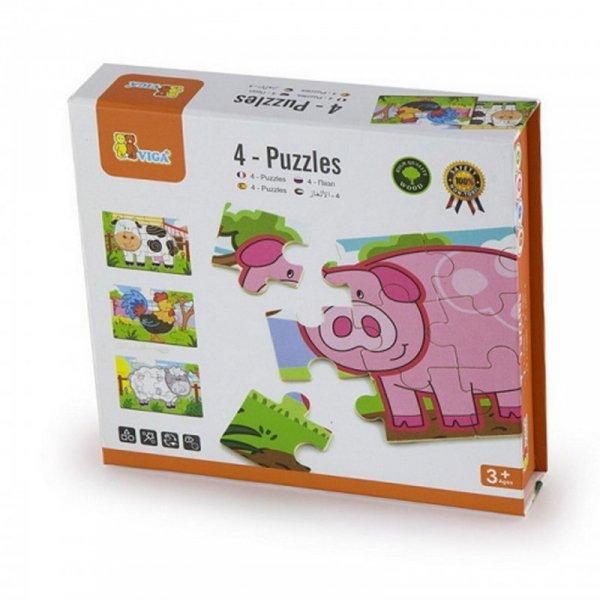 Drewniane Puzzle Farma Zwierzątka Układanka 4 Obrazki - Viga Toys