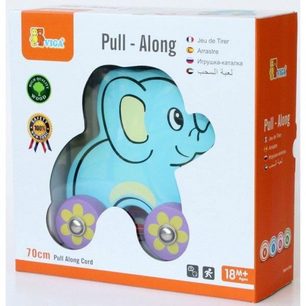 Drewniany słoń do ciągnięcia na sznurku - Viga Toys
