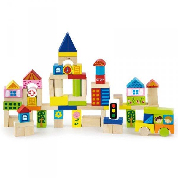 Drewniane Klocki Edukacyjne w Wiadrku Miasto 75 elementów - Viga Toys