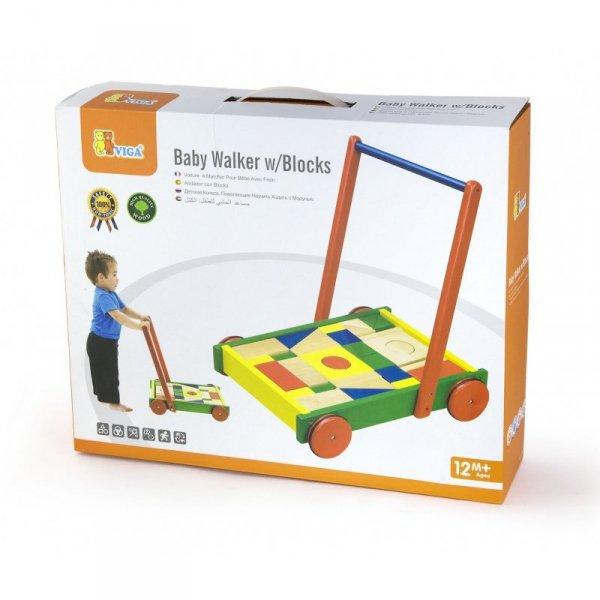 Drewniany Chodzik dla dzieci z klockami - Viga Toys