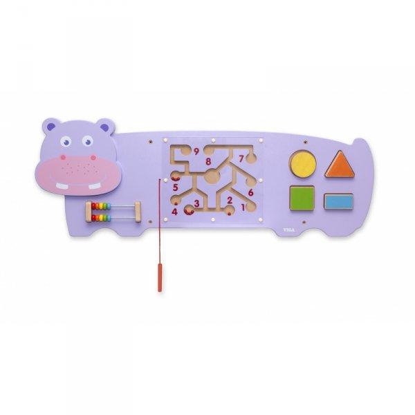 Sensoryczna tablica manipulacyjna Hipopotam drewniana - Viga Toys