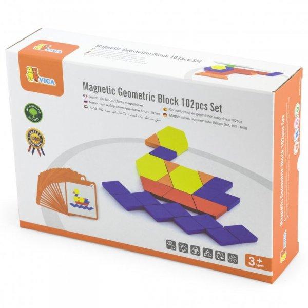 Drewniana Mozaika Geometryczna Układanka Logiczna Klocki 102 el - Viga Toys