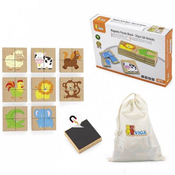 Drewniane Puzzle Magnetyczne Zwierzęta Układanka - Viga Toys