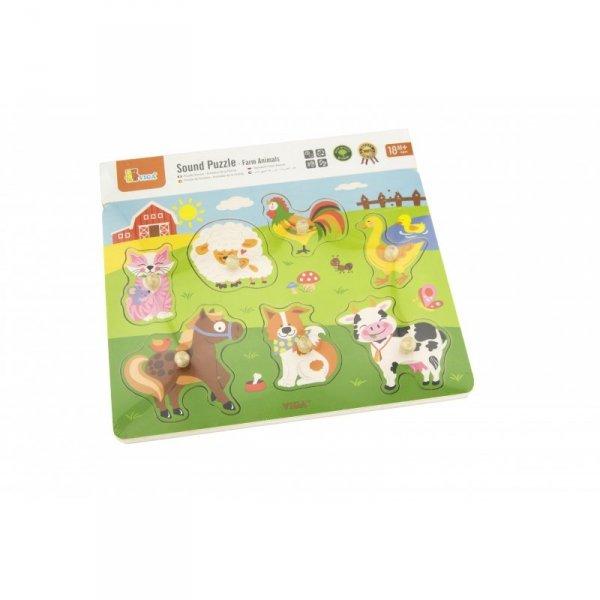 Drewniane Puzzle dźwiękowe Farma - Viga Toys