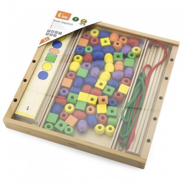 Drewniana Gra edukacyjna Logiczne koraliki  104 elementy - VIGA Toys
