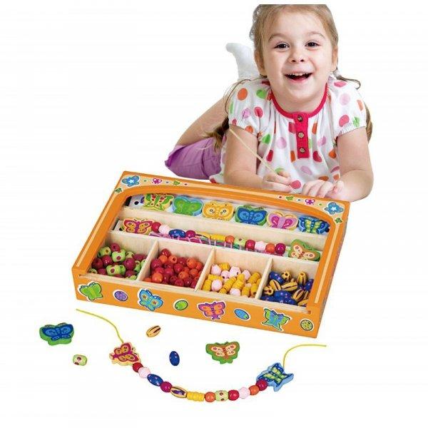 Koraliki Do Nawlekania Zestaw Motylki - Viga Toys