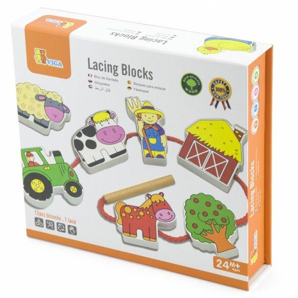 Drewniana przeplatanka Klocki Farma do nawlekania - Viga Toys