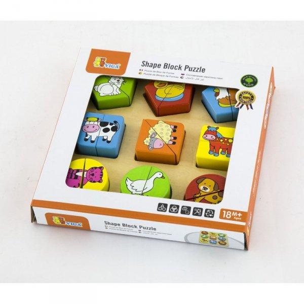 Puzzle Edukacyjne - Drewniane Zwierzęta - Viga Toys