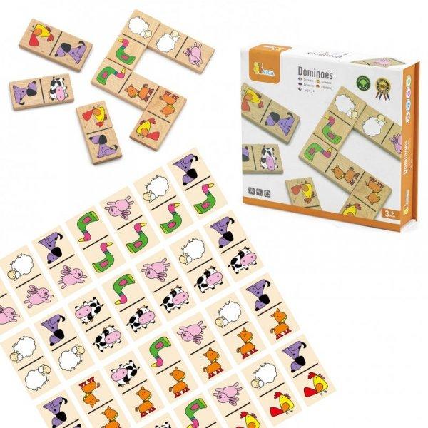 Drewniane Klocki - GRA DOMINO - Zestaw Zwierzątka 28 Elementów - VIGA Toys