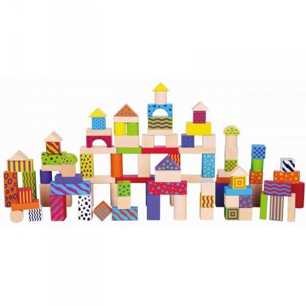 Klocki Drewniane Edukacyjne w Wiaderku Miasto 100 elementów - Viga Toys