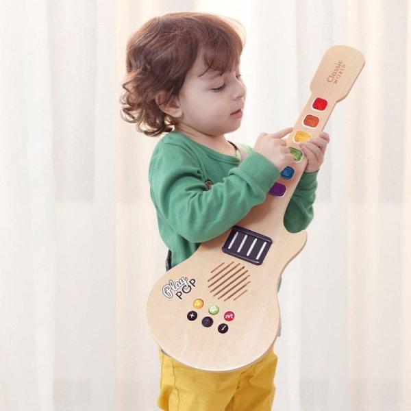 Gitara Drewniana Elektryczna Świecąca Dla Dzieci - CLASSIC WORLD