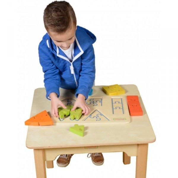 Drewniane Puzzle Dla Dzieci Nauka Kształtów Figury Geometryczne - Masterkidz