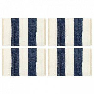 Maty na stół, 4 szt, Chindi, w paski, niebiesko-białe, 30x45 cm